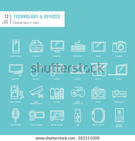 Set of thin lines web icons for technology - stock vector