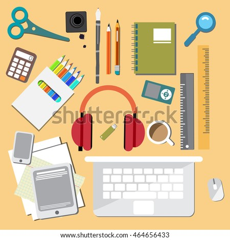 Set of things for school, college, university. Vector flat cartoon illustration
