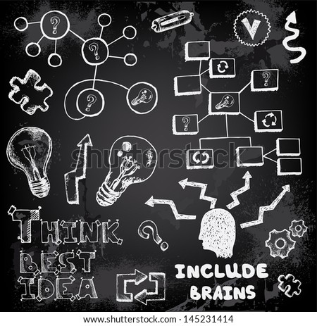 Set of thinking doodles elements - stock vector