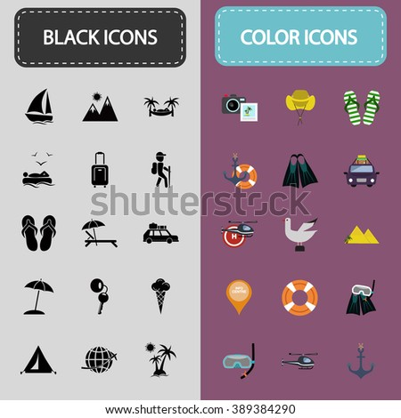 Set of thirty black and color travel icons