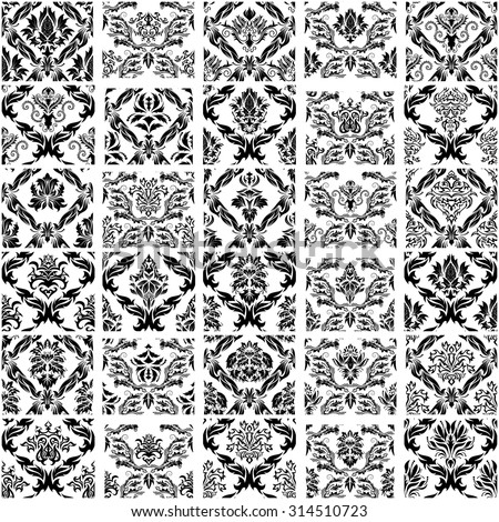 Set of Thirty Damask Seamless Vector Patterns.  Elegant Design in Royal  Baroque Style Background Texture. Floral and Swirl Elements. Ideal for Textile Print and Wallpapers. Vector Illustration.