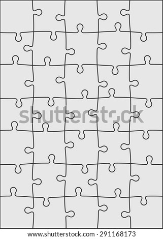 Set of thirty five puzzle pieces. Vector illustration, eps 8.