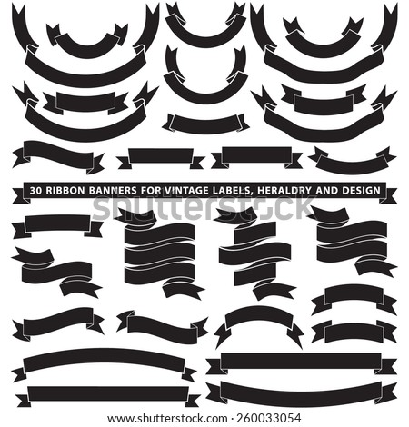 Set of thirty vector banner ribbons - stock vector