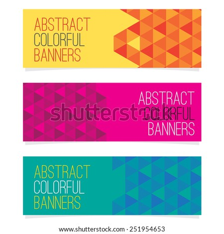 Set Of Three Abstract Banners Vector Illustration