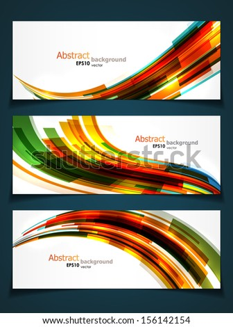 Set of three abstract banners with bright dynamic shapes and copyspaces. EPS10 vector. - stock vector