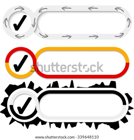 Set of three abstract buttons for your text and check box - stock vector