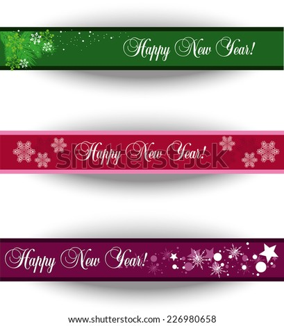 set of three abstract Christmas banners with space for text - stock vector