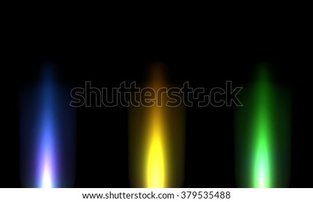 Set of three abstract light rays on black background - vector illustration