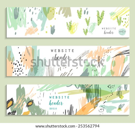 Set of three banners, abstract creative headers with doodles on a white background - stock vector