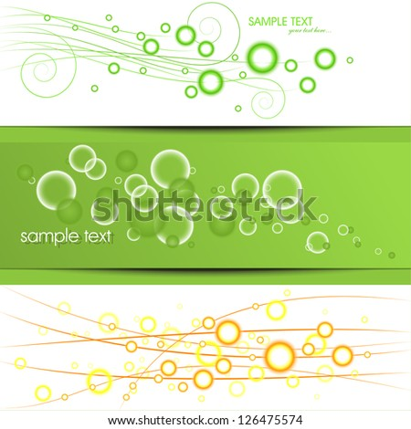set of three banners, abstract headers with bubbles and place for your text - stock vector