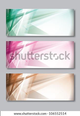 Set of Three Banners. Abstract Vector Headers. - stock vector