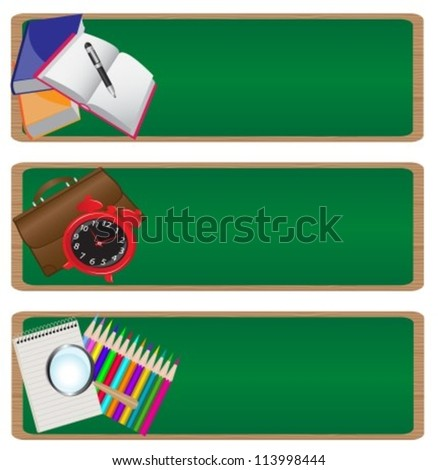 """set of three banners """"back to school"""" with a picture of various school supplies on the background of the school board. - stock vector"""