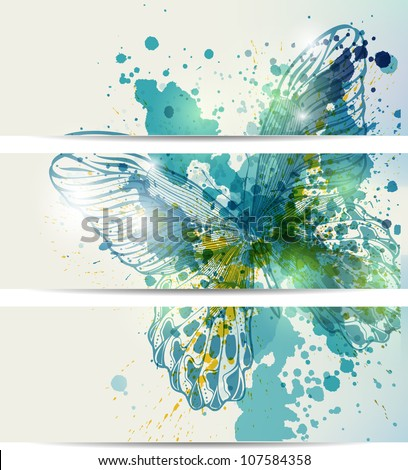 Set of three banners with butterflies and abstract blots - stock vector
