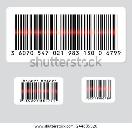 set of three barcode - stock vector