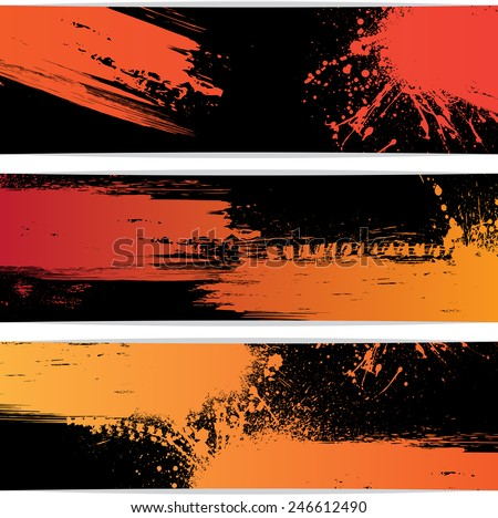 Set of three black frames with warm color ink splashes. eps10 - stock vector