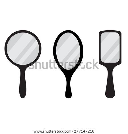 hand mirror. set of three black hand mirror vector icon. round, rectangular, ellipse mirrors