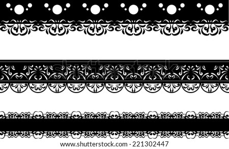set of three black lace borders