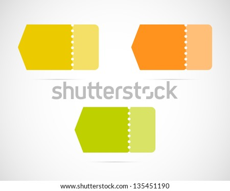Set of three blank arrows with perforation / various color arrows - stock vector