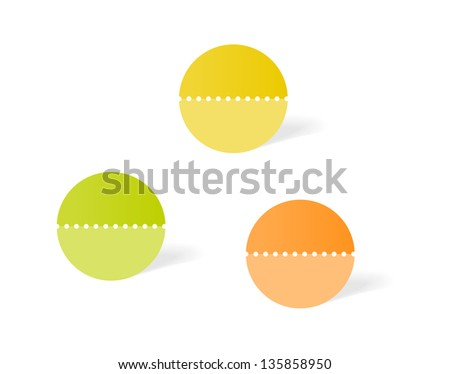Set of three blank circle labels, divided with perforation / circle label - stock vector