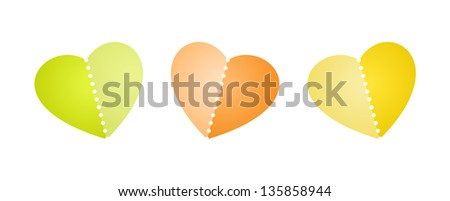 Set of three blank heart shapes with perforation / heart with perforation - stock vector