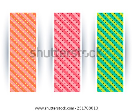 Set of three bright banners with candies stripes and dots. - stock vector