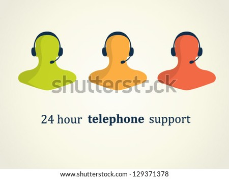 Set of three business icon telephone support, communication. Human wearing headset in office receptionist, operator, assistant, secretary. - stock vector