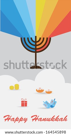 set of three cards with hanukkah infographics - stock vector