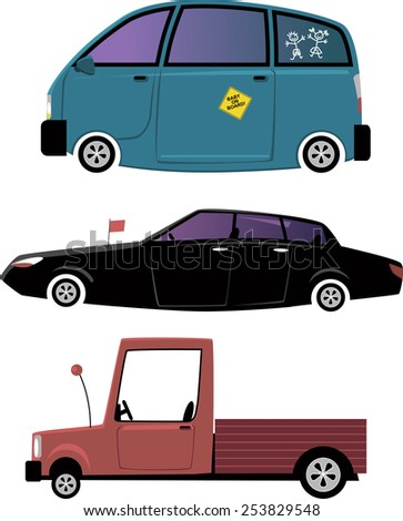 Set of three cartoon car illustration, isolated on white, EPS 8, no transparencies