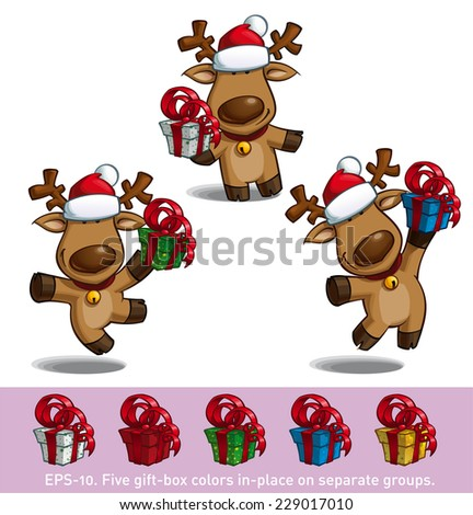 Set of three cartoon illustrations of a Santa's elk holding a gift in three poses-themes. Each pose on separate layer. All gift colors are in-place in separate groups for all poses. - stock vector