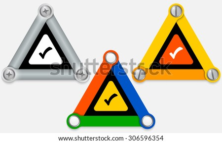 Set of three colored triangles and check box - stock vector