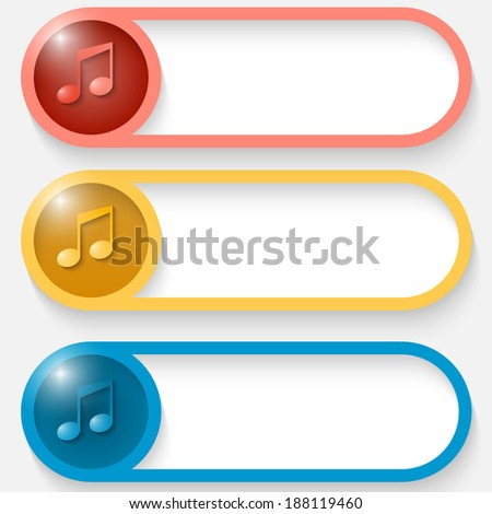 set of three colored vector abstract button with music icon - stock vector
