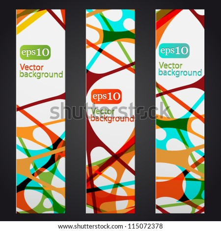 Set of three colorful abstract vertical banners - stock vector