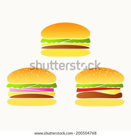 Set of three colorful hamburgers on light background. Vector version. - stock vector