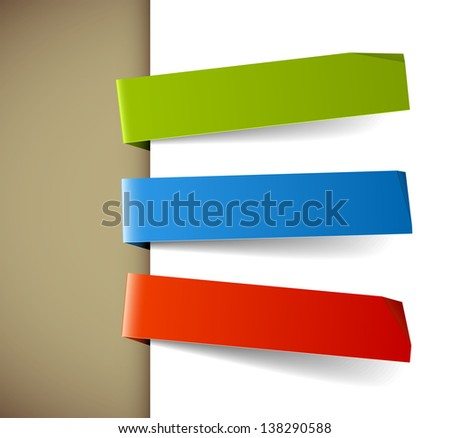 Set of three colorful paper tags - green, blue and red - stock vector