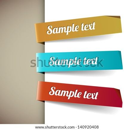 Set of three colorful paper tags - yellow, blue, red - stock vector