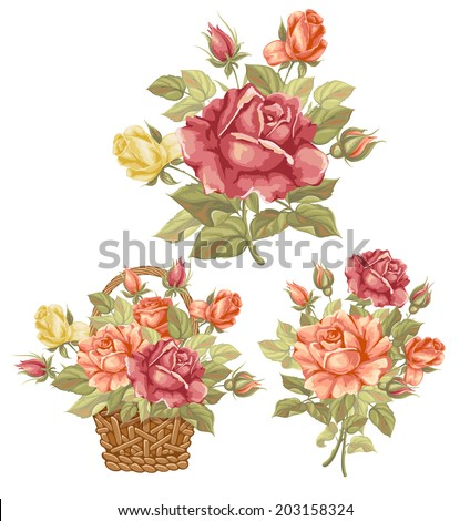 Set of three compositions luxury vintage watercolor roses.. Beautiful vector elements for your design. Isolated on white background. - stock vector