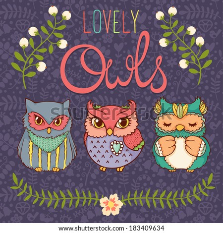 Set of three cute hand drawn owls. - stock vector