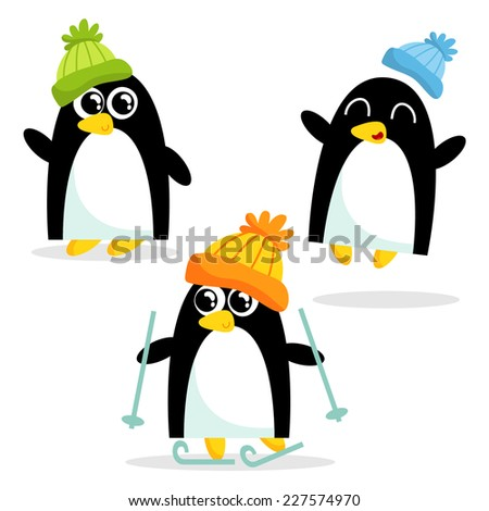 Set of three cute penguins having fun, isolated on white - stock vector