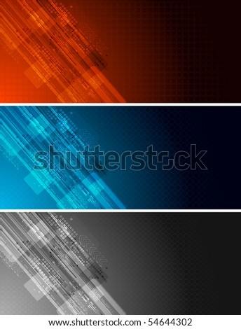 Set of three dark technical banners - stock vector