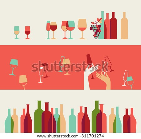 Set of three decorative  backgrounds with wine bottles and glasses silhouettes