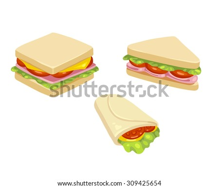 Set of three delicious sandwich illustrations: rectangle, triangle and wrap. - stock vector