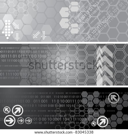 Set of three digital banners - stock vector