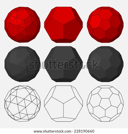 Set of three-dimensional geometric figures. Dodecahedron. Snub dodecahedron. Truncated icosahedron. Vector illustration - stock vector