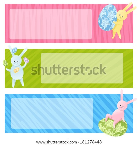 Set of three Easter banners with cute bunnies and eggs