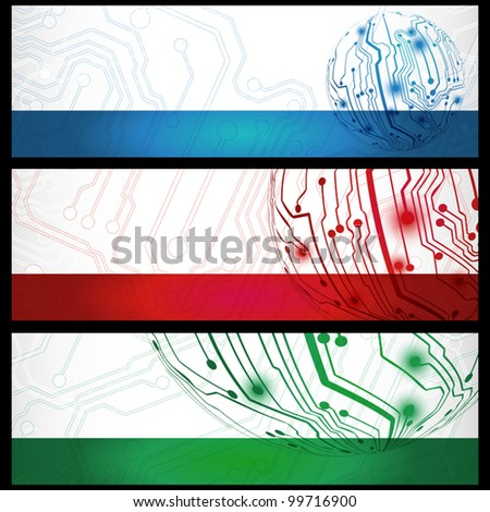 Set of three electric board banners - stock vector