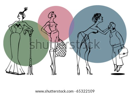 Set of three female silhouettes. - stock vector