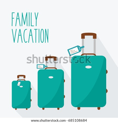 set of three flat design suitcase. 3 luggage family vacation. mom, dad & child or baby. big baggage, middle & little. smallest to largest or biggest in holiday & tag vector. Travel isolated concept.