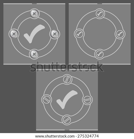 Set of three flat frames and check box - stock vector