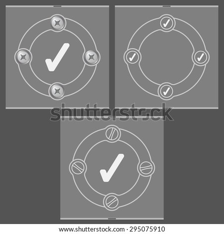 Set of three flat frames and check box - stock vector