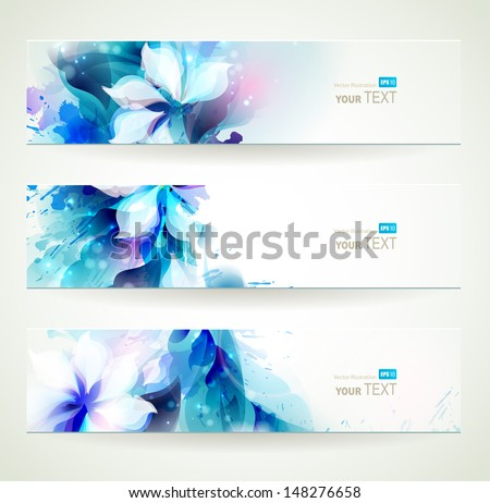 set of three floral headers  - stock vector
